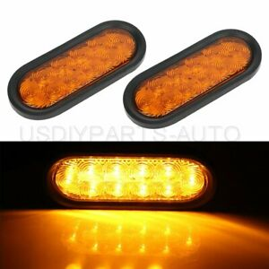 2x Amber 6 21 Led Car Rubber Universal Signal Tail Light For Pickup Truck