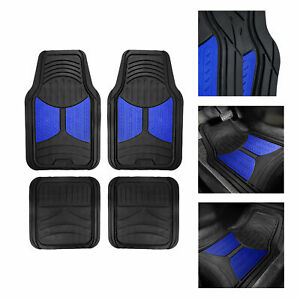 Black Blue 2 Tone Floor Mats For Car Suv Van All Weather Universal Fitment