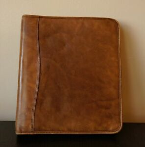Day timer Distressed Leather Folio Planner Cover Dark Tan Zippered Organizer