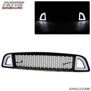 For 2013 2014 Ford Mustang Non shelby Front Bumper Upper Led Grille Black