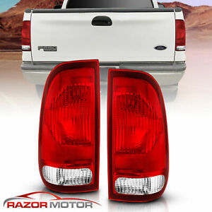 97 03 Ford F150 99 07 F250 F350 Superduty Clear Red Replacement Tail Light Pair