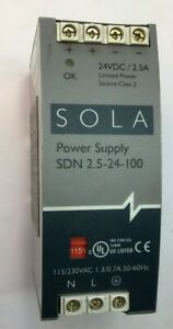 Sola Power Supply Sdn 2 5 24 100 Class 2 24vdc 2 5a 230vac 1 3 0 7a 60hz