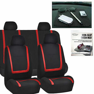 Car Seat Covers Red Black Set For Auto W Head Rests Dash Grip Pad