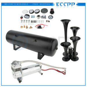 4 Trumpets Train Horn Kit For Truck Car Semi Loud System Air Compressor 200psi
