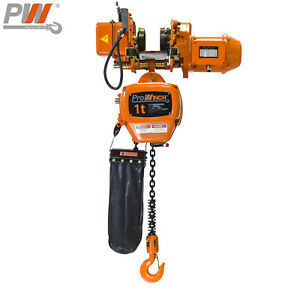 Prowinch 2 Speed 1 Ton Electric Chain Hoist Power Trolley 20 Ft G100 Chain M
