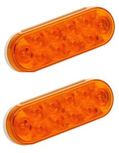 2 6 Amber Led Stop Tail Turn Brake Trailer Boat Lights