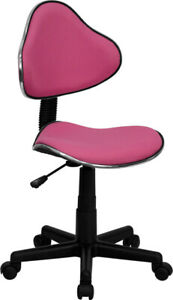 Ergonomic Armless Office Task Chair In Pink Fabric Swivel And Adjustable Height