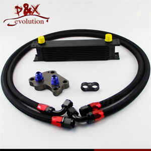 Black An10 9 Row Engine Oil Cooler Kit For Bmw Mini Cooper S R53 Supercharger