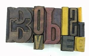 Letterpress Letter Wood Type Printers Block lot Of 10 Typography eb 186