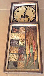 Vintage Pepsi Cola Clock shadow box Beans Wheat Seeds Agriculture 1970s Farm
