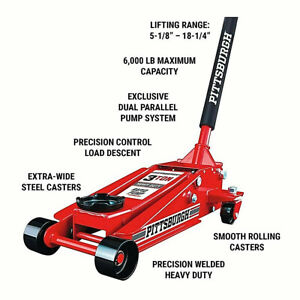 3 Ton Steel Heavy Duty Floor Jack With Rapid Pump Garage Shop Home Lifting Jack