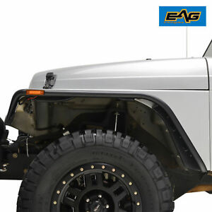 Eag Fit 97 06 Jeep Wrangler Tj Abs With Side Led Flat Style 4pcs Fender Flares