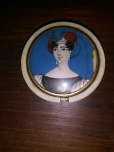 19th Century Round Snuff Box W Hand Painted Portrait Of Woman
