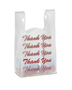 T shirt Thank You Plastic Grocery Store Shopping Carry Out Bag 100ct