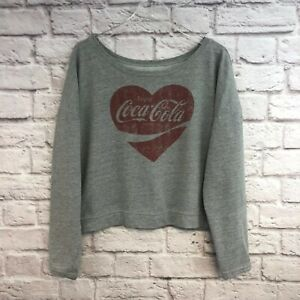 Women's Coca Cola Gray with Red Heart Cropped Sweatshirt Size XL Extra Large