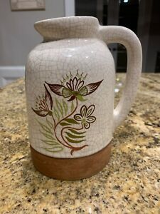 Barbara Willis Pottery Early Provincial Floral Large Jug EUC 7quot; Tall Signed