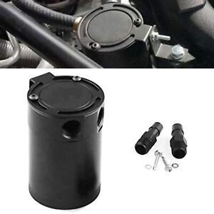 Oil Catch Can 2 Port Air oil Separator Baffled Racing Aluminum Universal Black