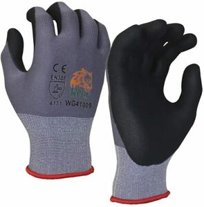 Wolf Work Glove Ultra thin Nitrile Foam Grip Palm Coated Nylon Shell 3 Pairs
