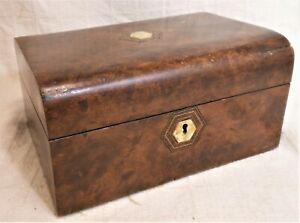 Very Good Antique Burlwood Jewelry Box With Inlaid Fitted Interior
