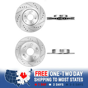 For 2006 2007 2008 2012 Honda Civic Si Front Rear Drill Slot Brake Rotors