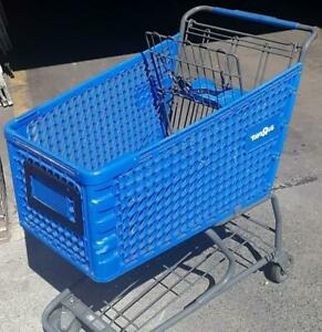 Shopping Carts Blue Plastic Basket Lot 32 Used Store Fixtures Full Size Buggies