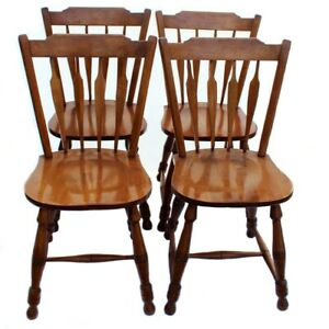 Windsor Early American Wood Maple Dining Chairs Set Of 4