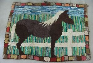Antique Folk Art Hooked Rug Of A Horse With White Mane And Blue Sky