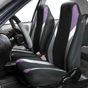 Highback Car Seat Covers For Auto Suv Van Coupe Front Bucket Purple Black