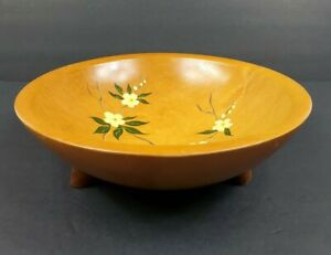 Vintage 1940 S Munising 3 Footed Wood Salad Fruit Bowl Hand Painted Blossoms Vgc