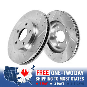 Front Drilled Slotted Brake Rotors For 2013 2014 Ford Mustang S197