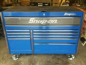 Snap On Krl7022 Royal Blue Double Bank Tool Box With Carbon Fiber Drawer Tops