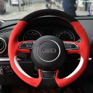 Hand stitched Black Red Suede White Leather Steering Wheel Cover For Audi A3 A5