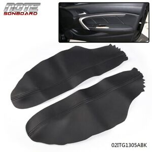 For 2008 2012 Honda Accord Coupe Black Leather Front Door Panels Armrest Cover