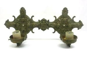 Vintage Ornate Brass Electric Wall Sconce Light Fixture