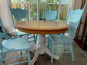 Vintage Farmhouse Shabby Chic Dining Set Solid Oak Table With 4 Aqua Blue Chairs
