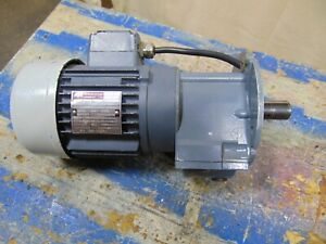 Electric Motor With Gear Reduction Gearbox 50 Hz 1 4 Hp 1 380 Rpm 7 8 Shaft