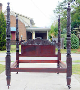 Solid Mahognay Federal Empire Palm Leaf Carved Poster Bed Circa 1830