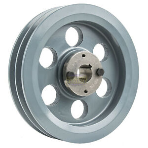 Cast Iron 7 75 2 Groove Dual Belt B Section 5l Pulley 1 Sheave Bushing