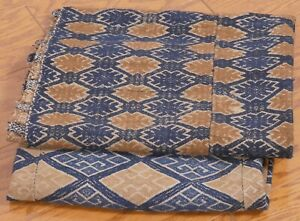 Vintage Weavings 2 Lots Of 3 Sewn Together Textile Panels Indigo Blue Browns