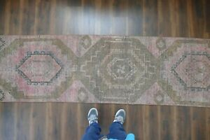 Vintage Turkish Oushak Runner Rug Handwoven Wool Antique Rug Runner 2 7x10 Ft