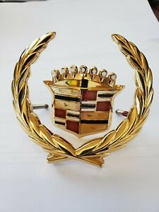 Cadillac Sts Gold Wreath And Crest Front Grille Emblem P 20726310 new Other