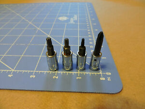 Snap On 1 4 Drive Torx And Phillips Lot Of 4 Ttx25e Ttxb20e Ttxr10 Tmp 22a