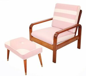 Curated Mid Century Danish Modern Teak Easy Lounge Chair Ottoman