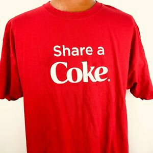 Share a Coca Cola Names Red T Shirt Size 2XL Hanes Cotton Drink Bottle