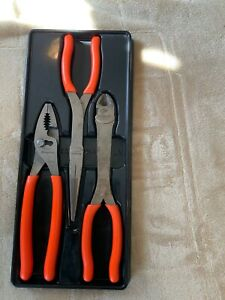 Snap On Orange Handle 3pc Long Nose Pliers And Cutters Set