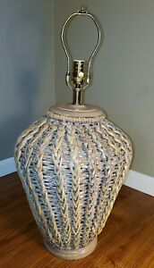 Vintage Large Rattan Wicker Bamboo Wescal Table Lamp