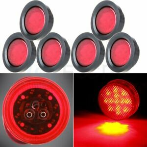 6x 2 5 Inch Red Truck Trailer Round 13 Led Side Marker Tail Light For Pickup