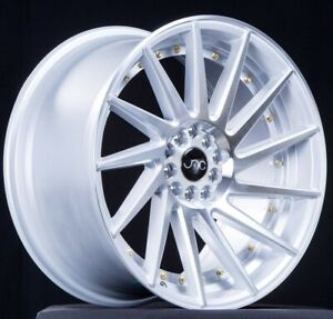 Set 4 Jnc Wheels Jnc051 19x8 5 10 5 5x120 30 Silver Machine Face Gold Rivets