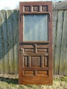 Antique Wood Farmhouse Door Carved