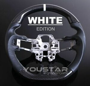D Type Carbon Nappa Leather White Stitch Steering Wheel For 18 20 Ford Mustang